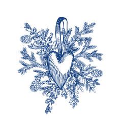 christmas hand drawn toy heart and fur tree vector image