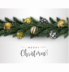 christmas pine tree wreath and gold ornament card vector image
