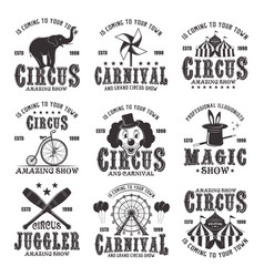 circus amazing show set of black emblems vector image