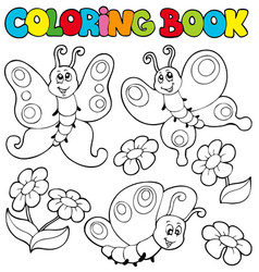 Coloring book with butterflies 1 vector
