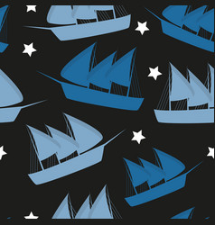 columbus day pattern repeat seamless in blue color vector image
