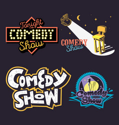 comedy show comedian hand lettering vector image