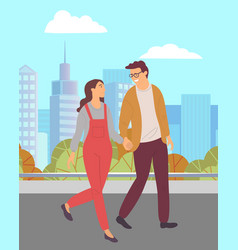 couple in love walking and holding hands in park vector image