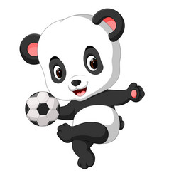 Cute baby panda playing soccer vector