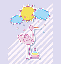 cute stork cartoon with baby toy vector image