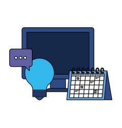 Desktop computer with speech bubble vector