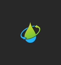 droplet water arrow technology logo vector image