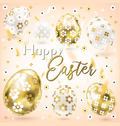 Easter porceline and golden eggs in the cream sky vector