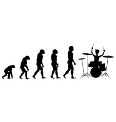 Evolution drummer silhouette on white background vector