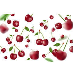 falling realistic ripe cherry elements realistic vector image