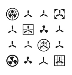 Fans propellers icons set vector