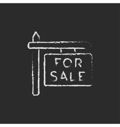 For sale signboard icon drawn in chalk vector