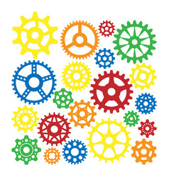 gear icons silhouette isolated engine wheel vector image
