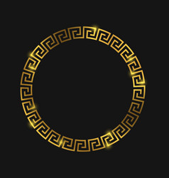 Golden round greek frame for design vector