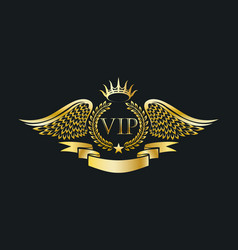 Golden vip emblem with laurel wreath and eagle vector