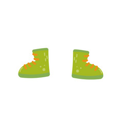 Green boots shoes for boys on vector