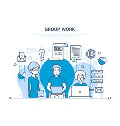 group work people in office teamwork partners vector image