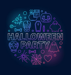 Halloween party outline round colored vector