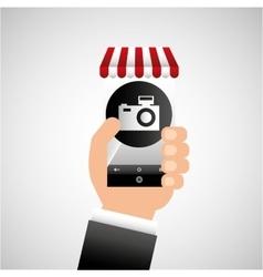 Hand holding e-shopping camera design vector