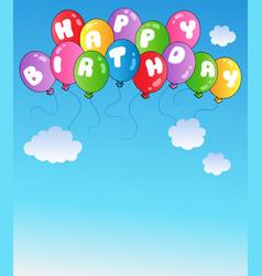 happy birthday balloons on blue sky vector image