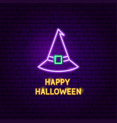 happy halloween witch neon label vector image