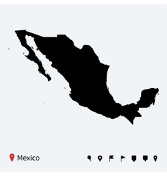 High detailed map mexico with navigation pins vector