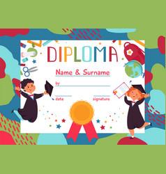 kids diploma children graduation fun cartoon boy vector image