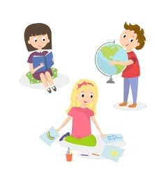 Kids doing different activities-painting and study vector