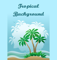 Landscape sea beach with palms vector