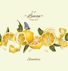 lemon seamless border vector image