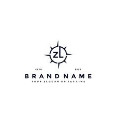 Letter zl compass logo design vector