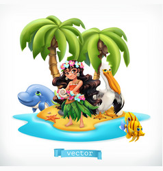 Little girl and funny animals tropical island 3d vector