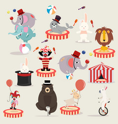 lovely circus characters festival set vector image