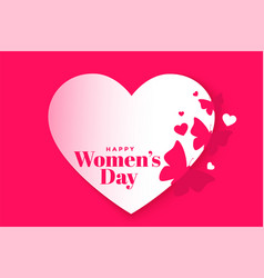 Lovely happy womens day heart and butterfly poster vector