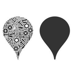 map marker mosaic of repair tools vector image
