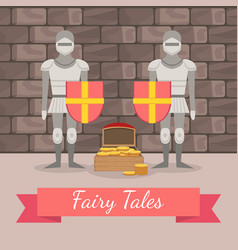 medieval knights in armour guarding chest of vector image