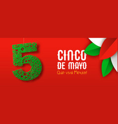 mexican paper art banner for cinco de mayo holiday vector image