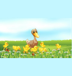 Nature scene background with ducklings in the vector
