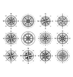 Nautical compass marine wind rose isolated icons vector
