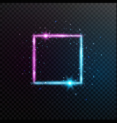 neon square frame bright blue and violet glowing vector image