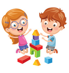 of kid playing with building b vector image