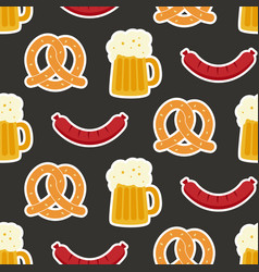 oktoberfest seamless pattern with beer mug vector image