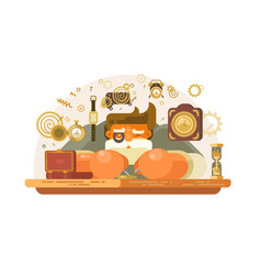 old watch repairer at workplace vector image