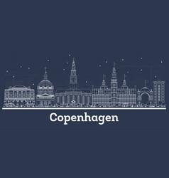 outline copenhagen denmark city skyline vector image