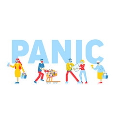 Panic in supermarket concept people buying up all vector