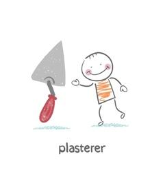 plasterer with shovel tool vector image