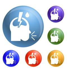 pneumonia headache icons set vector image