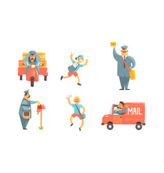 postmen cartoon characters with letters set vector image