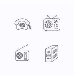 Radio retro phone and pc case icons vector image