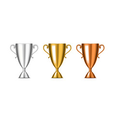 Realistic detailed 3d winner cup set vector